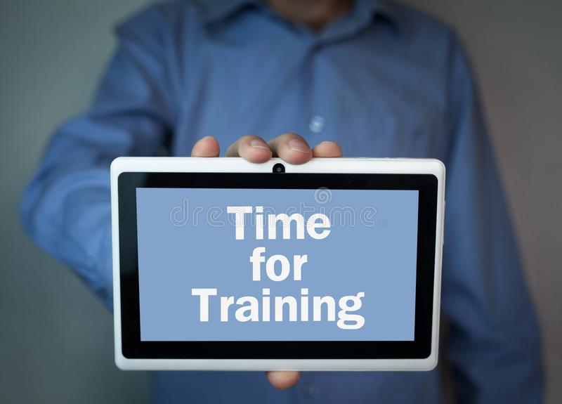 Time for training text on a digital tablet. royalty free stock images