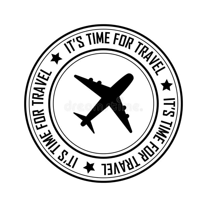 Time for travel postal stamp icon, black isolated on white background, vector illustration.  vector illustration