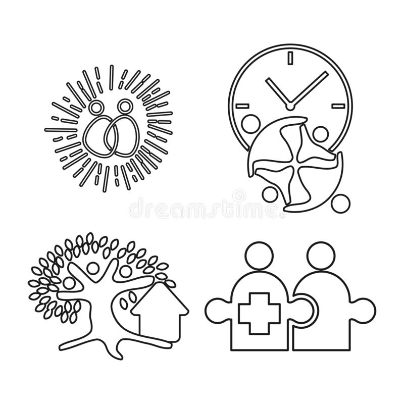 Time tree puzzle Commitment Teamwork Together Outline Logo stock illustration