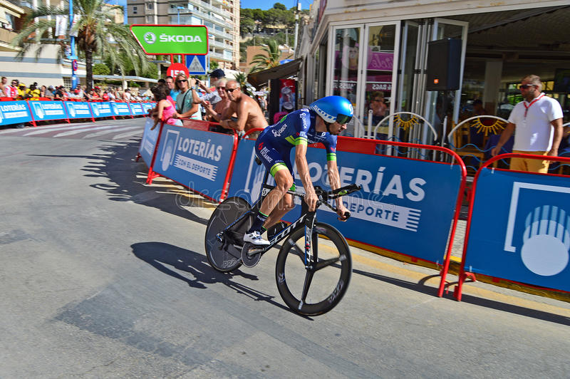 Time Trial Bike Racer. Damien Howson From Orica Bike exchange rounds a bend at the end of the TT time trial stage of the 2016 La Vuelta España in Calpe Spain stock photos