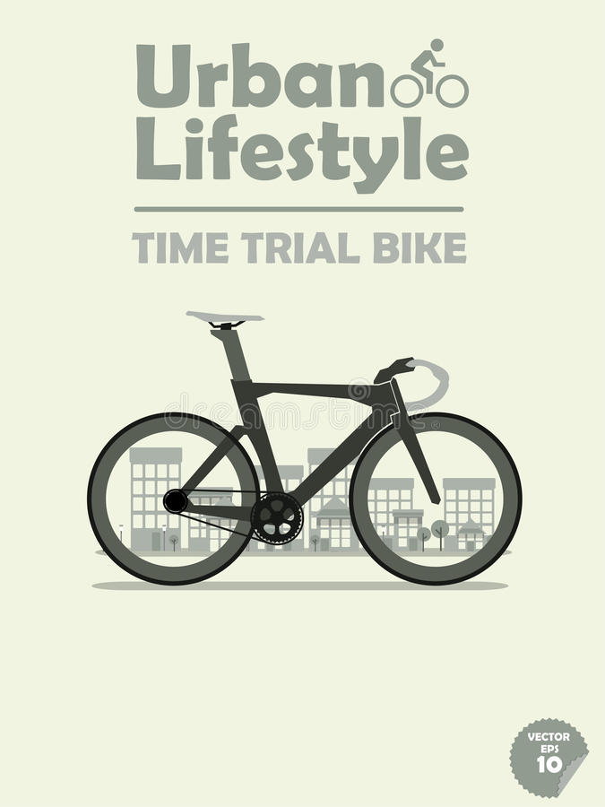 Time trial bike on town background royalty free illustration