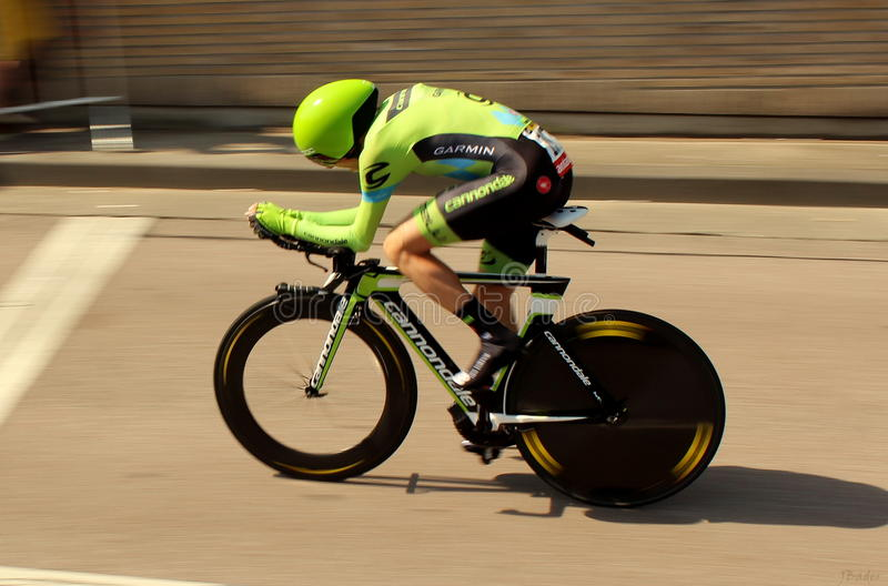 Time trial. A cyclist of Cannondale-Garmin pro cycling team during the time trial in Utrecht, the grand depart of the Tour de France ( picture taken on july 4th royalty free stock photos