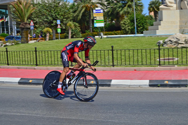 Time Trial Rider From Team BMC. The rider speeds past during the time trial stage of the 2016 La Vuelta España stock images