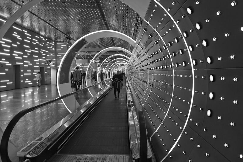 Time Tunnel in Guangzhou Baiyun International Airport royalty free stock photos