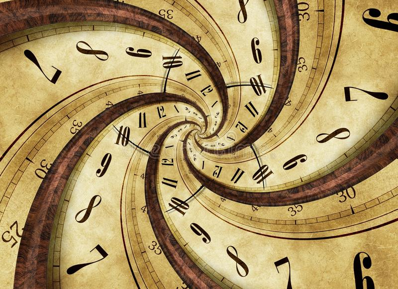 Time Twister. Abstract Concept Illustration with Twisted Vintage Clock royalty free illustration