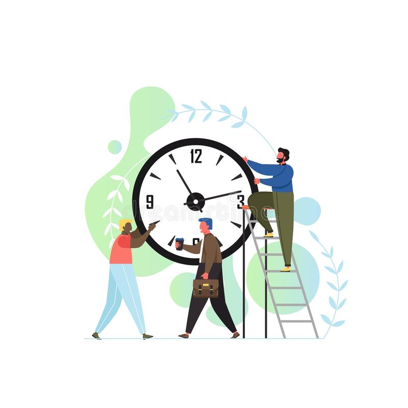 Time is up concept vector flat style design illustration. Tiny characters business people trying to turn back hands of huge clock. Time management concept for stock illustration