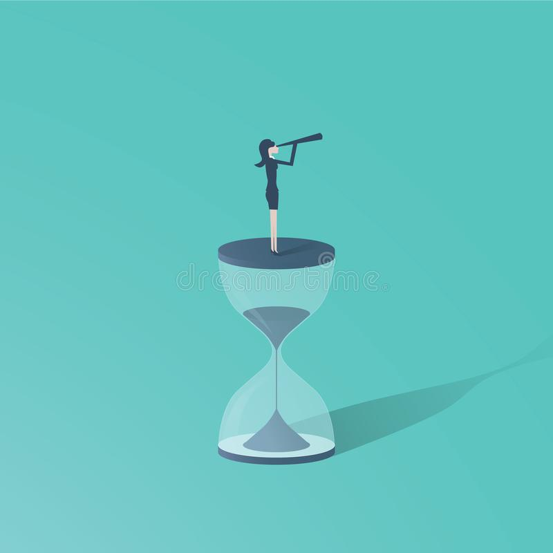 Time is up movement with woman standing on top of sand clock or hourglass with telescope. Symbol of future for women vector illustration