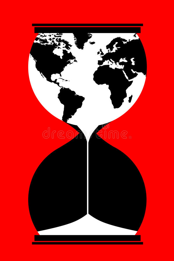 Time is up. Running out of time world environment and economy concept royalty free illustration