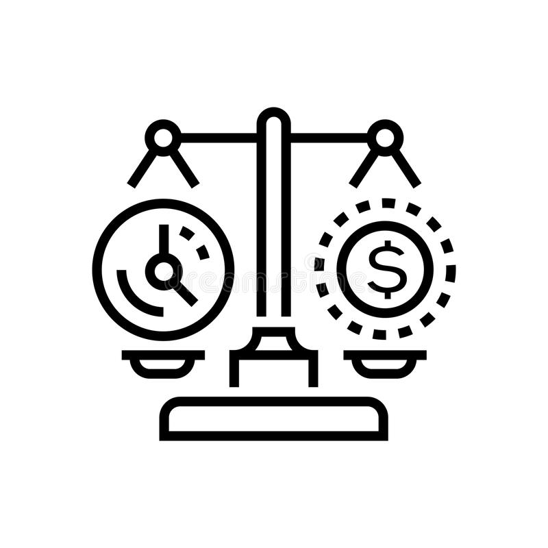 Time vs money - line design single isolated icon. On white background. High quality black pictogram, emblem. An image of justice scales with watch face and stock illustration