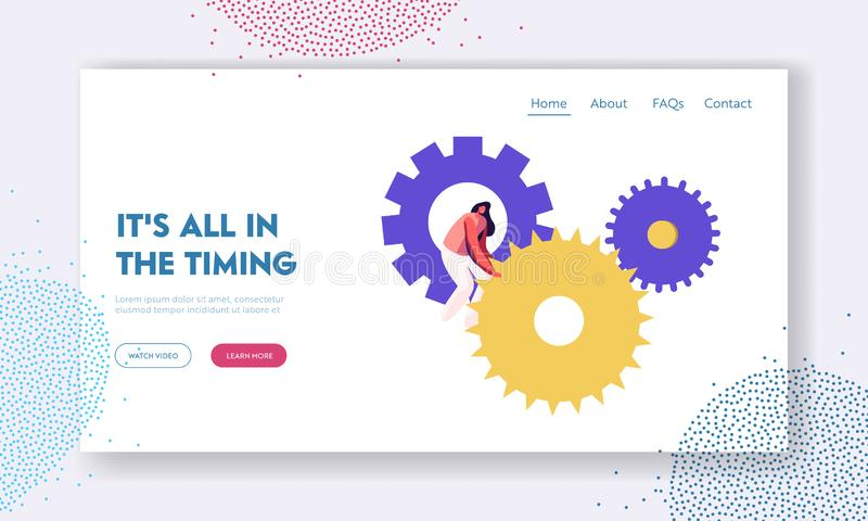 Time Website Landing Page, Tiny Woman Character Turning Huge Gears and Cogwheels Mechanism of Clocks or Watch royalty free illustration
