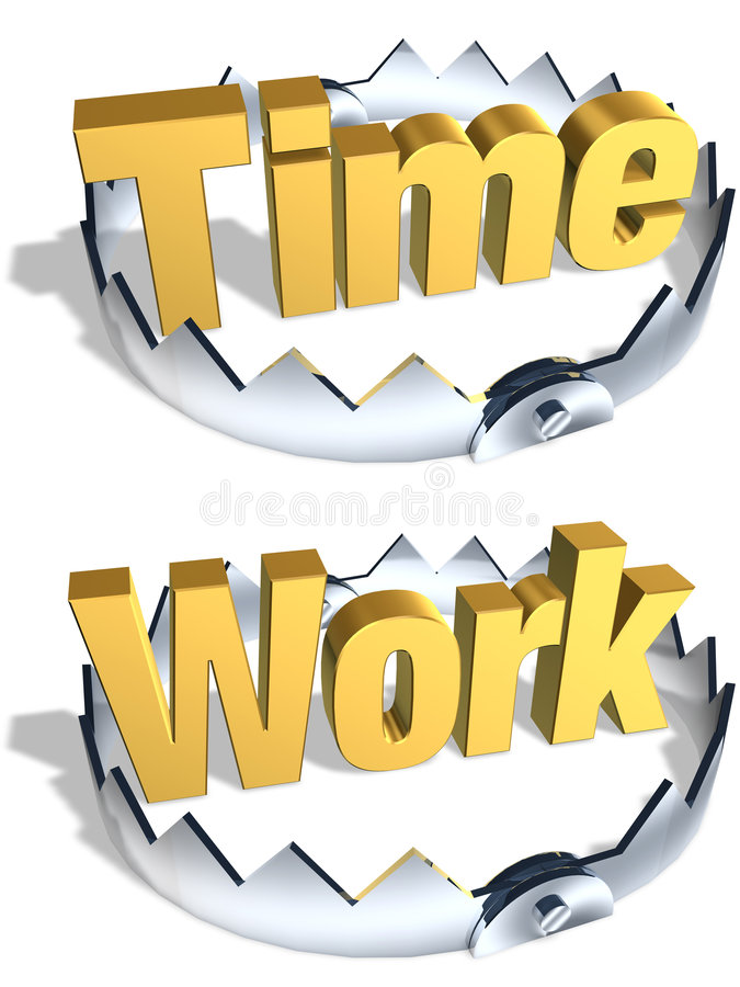 Time Work Trap. Gold word Time and Work in center of shiny steel trap with sharp teeth. Symbol of lifestyle balance and risk. Isolated 3D illustration stock illustration