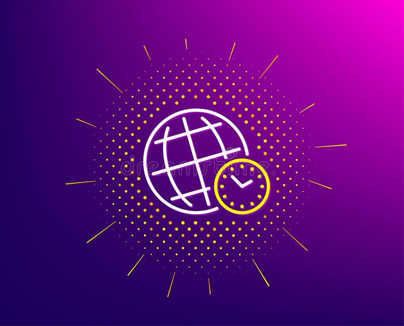 Time zone line icon. World clock sign. Watch. Vector. Time zone line icon. Halftone pattern. World clock sign. Watch symbol. Gradient background. Time zone line stock illustration