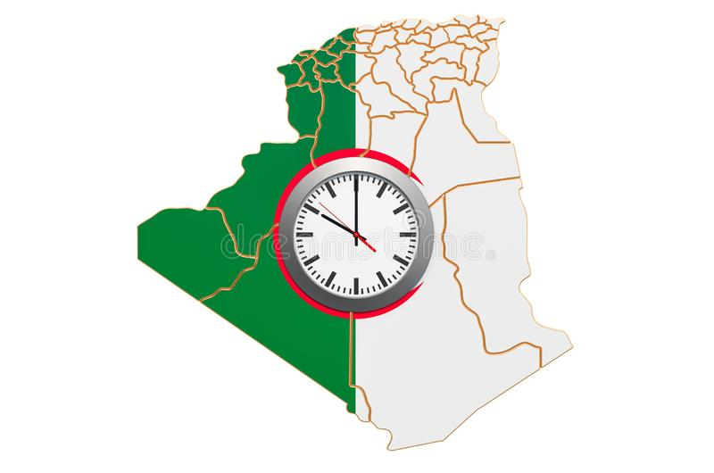 Time Zones in Algeria concept. 3D rendering. Isolated on white background vector illustration