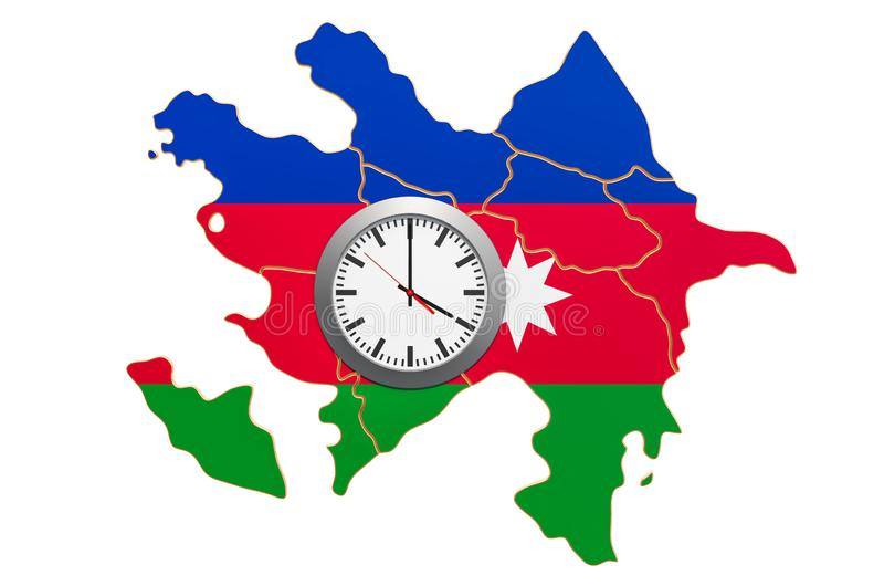 Time Zones in Azerbaijan concept. 3D rendering. Isolated on white background vector illustration