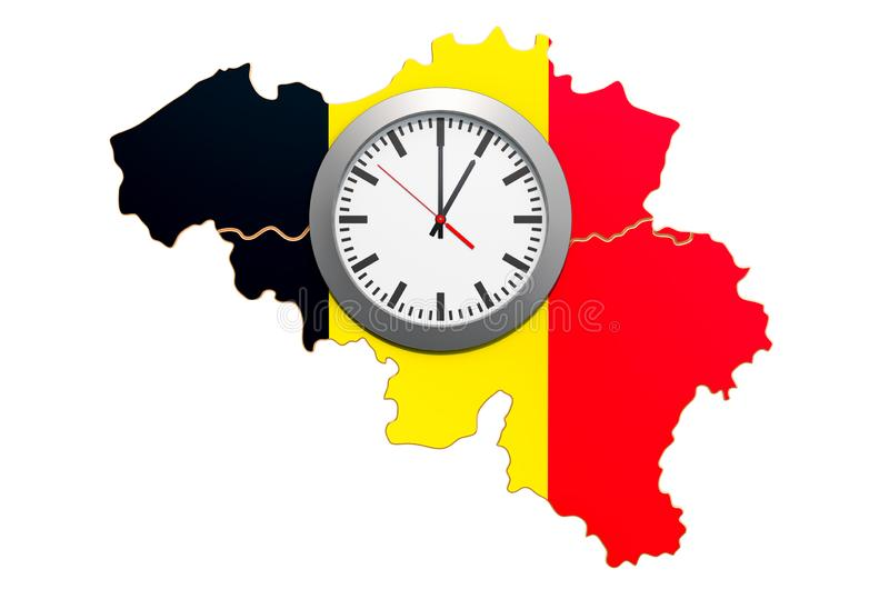 Time Zones in Belgium concept. 3D rendering. Isolated on white background vector illustration