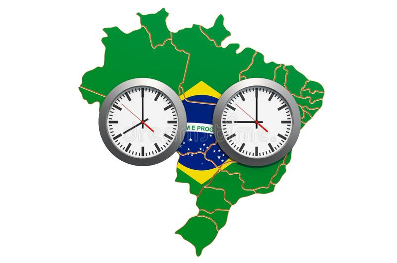 Time Zones in Brazil concept. 3D rendering. Time Zones in Brazil concept. 3D stock illustration
