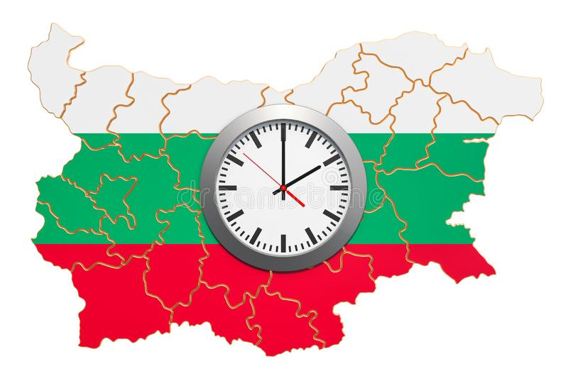 Time Zones in Bulgaria concept. 3D rendering. Isolated on white background stock illustration