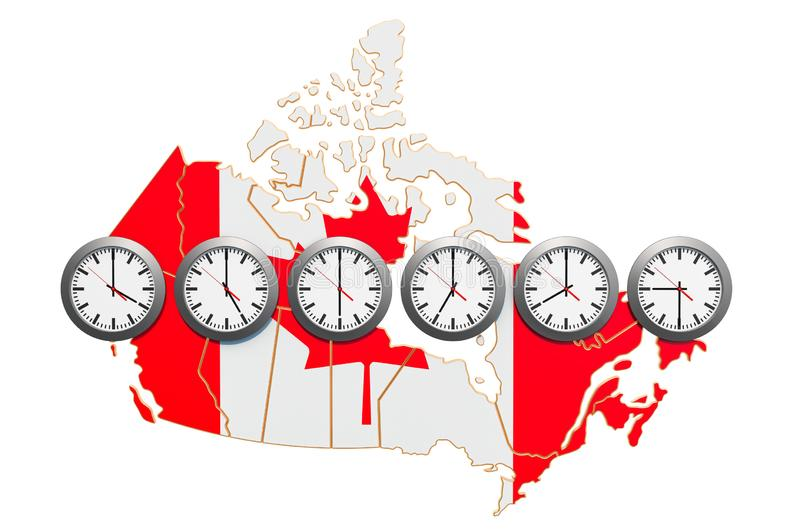 Time Zones in Canada concept. 3D rendering. Isolated on white background vector illustration