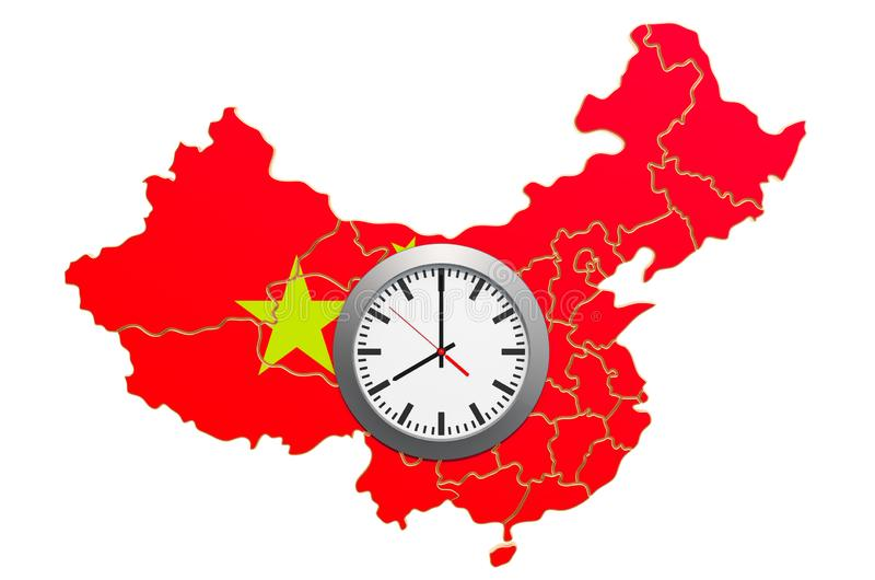 Time Zones in China concept. 3D rendering. Isolated on white background vector illustration