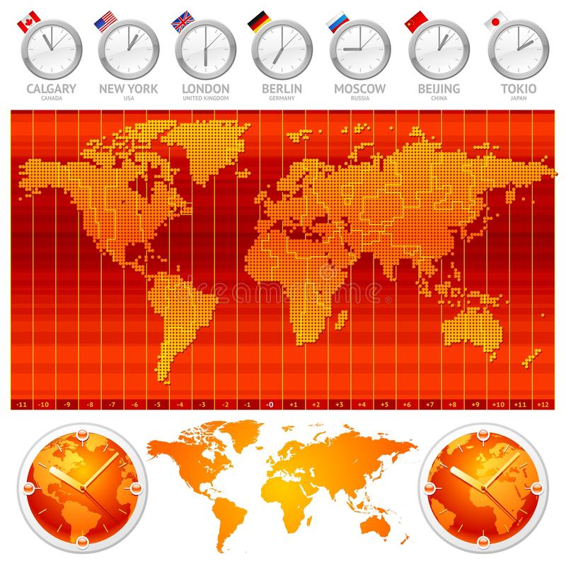 Time zones and clocks. Map of time zones and clocks stock illustration