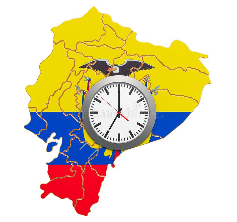 Time Zones in Ecuador concept. 3D rendering. Isolated on white background vector illustration