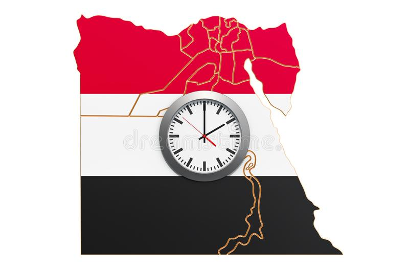 Time Zones in Egypt concept. 3D rendering. Isolated on white background vector illustration