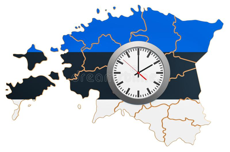 Time Zones in Estonia concept. 3D rendering. Isolated on white background vector illustration