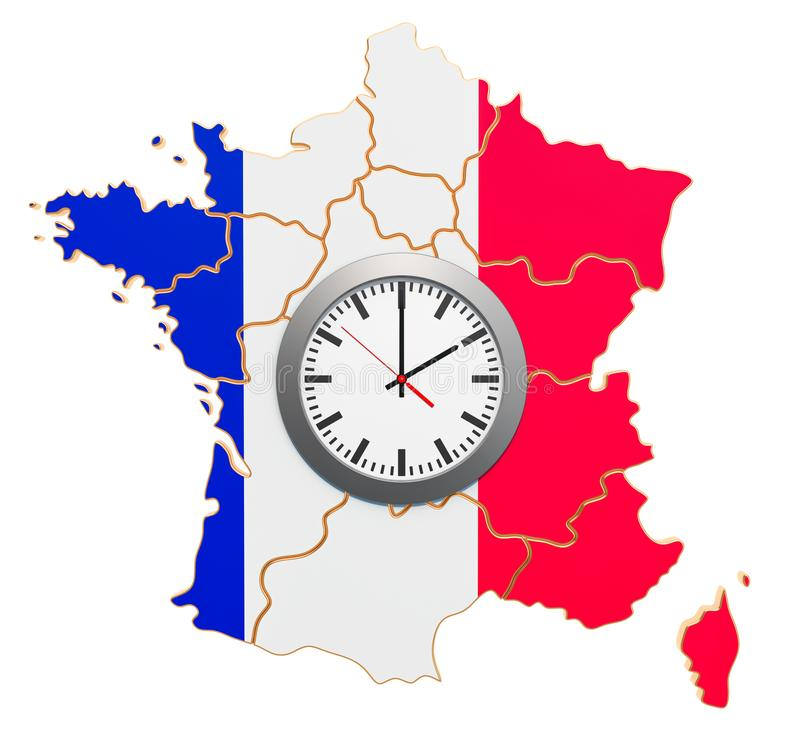 Time Zones in France concept. 3D rendering. Time Zones in France concept. 3D royalty free illustration