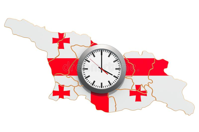 Time Zones in Georgia concept. 3D rendering. Isolated on white background royalty free illustration