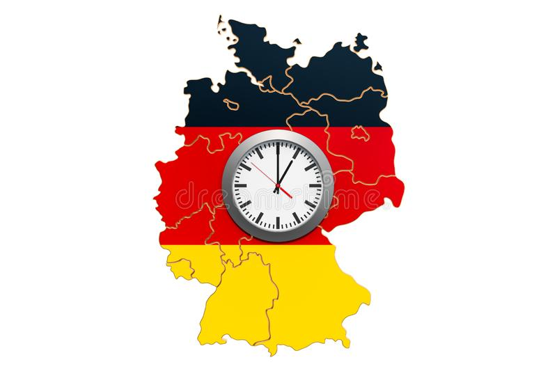 Time Zones in Germany concept. 3D rendering. Isolated on white background royalty free illustration