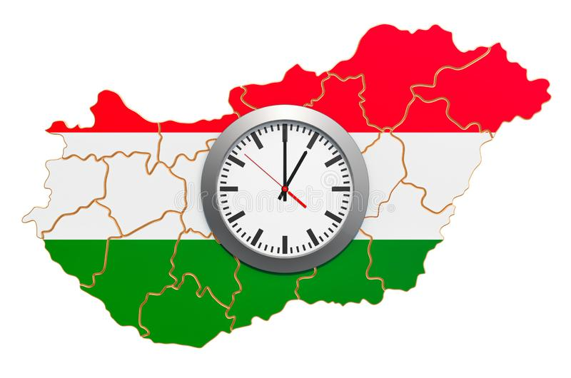 Time Zones in Hungary concept. 3D rendering. Isolated on white background vector illustration