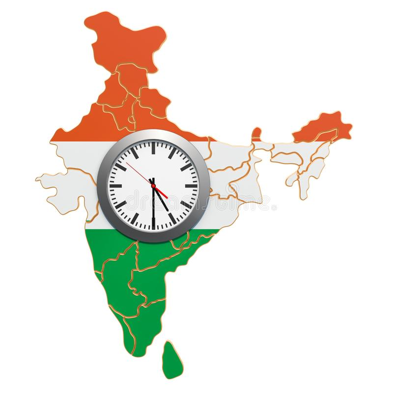 Time Zones in India concept. 3D rendering. Isolated on white background royalty free illustration