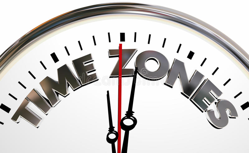Time Zones International Hours Clock Words. 3d Illustration royalty free illustration