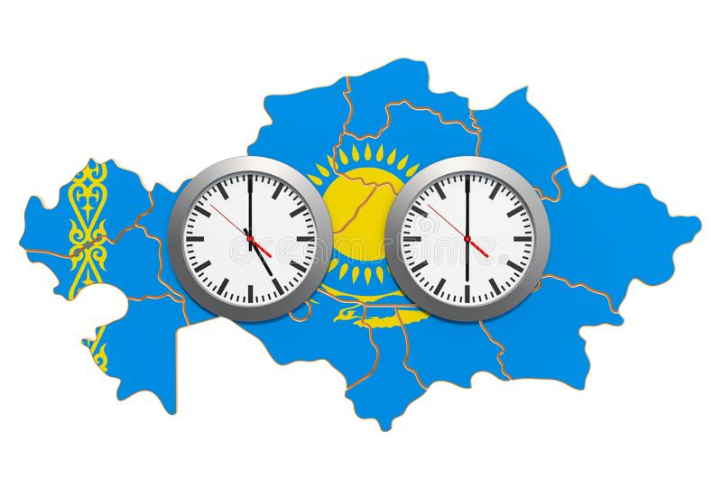 Time Zones in Kazakhstan concept. 3D rendering. Isolated on white background stock illustration