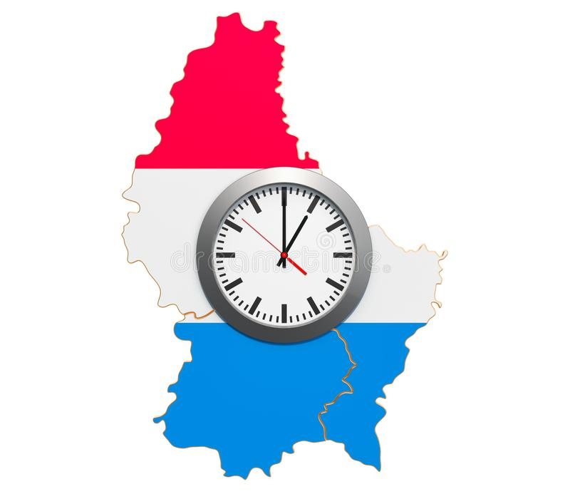 Time Zones in Luxembourg concept. 3D rendering. Isolated on white background stock illustration