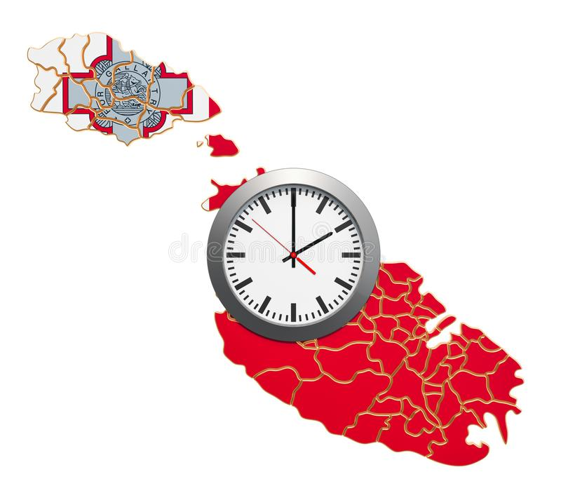 Time Zones in Malta concept. 3D rendering. Isolated on white background stock illustration