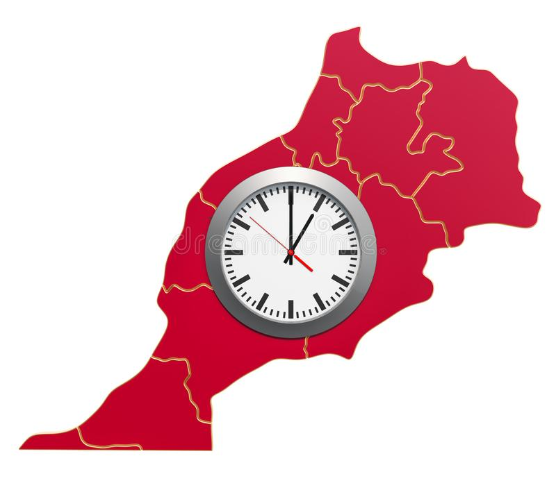 Time Zones in Morocco concept. 3D rendering. Time Zones in Morocco concept. 3D royalty free illustration