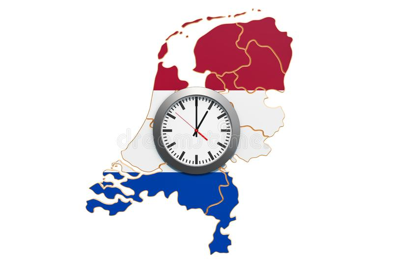 Time Zones in the Netherlands concept. 3D rendering. Isolated on white background royalty free illustration