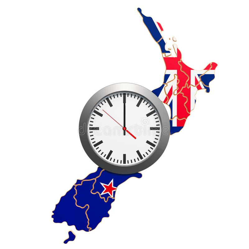 Time Zones in New Zealand concept. 3D rendering. Isolated on white background stock illustration