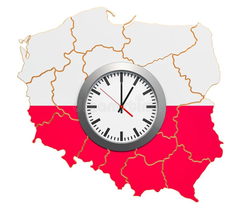 Time Zones in Poland concept. 3D rendering. Isolated on white background vector illustration