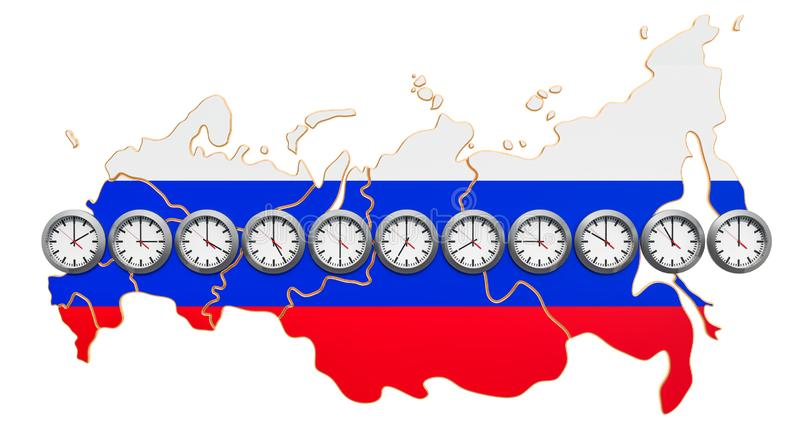 Time Zones in the Russian Federation concept. 3D rendering. Time Zones in the Russian Federation concept. 3D royalty free illustration