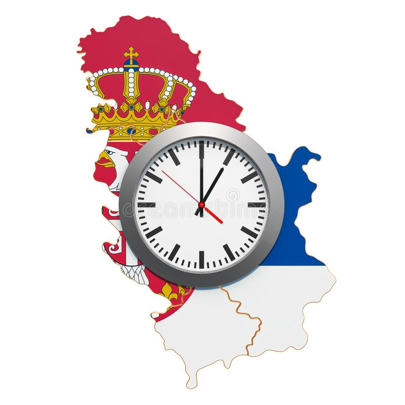 Time Zones in Serbia concept. 3D rendering. Isolated on white background vector illustration