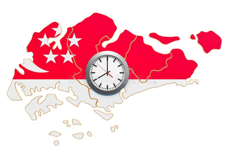 Time Zones in Singapore concept. 3D rendering. Isolated on white background stock illustration