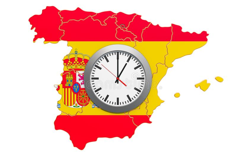 Time Zones in Spain concept. 3D rendering. Isolated on white background vector illustration