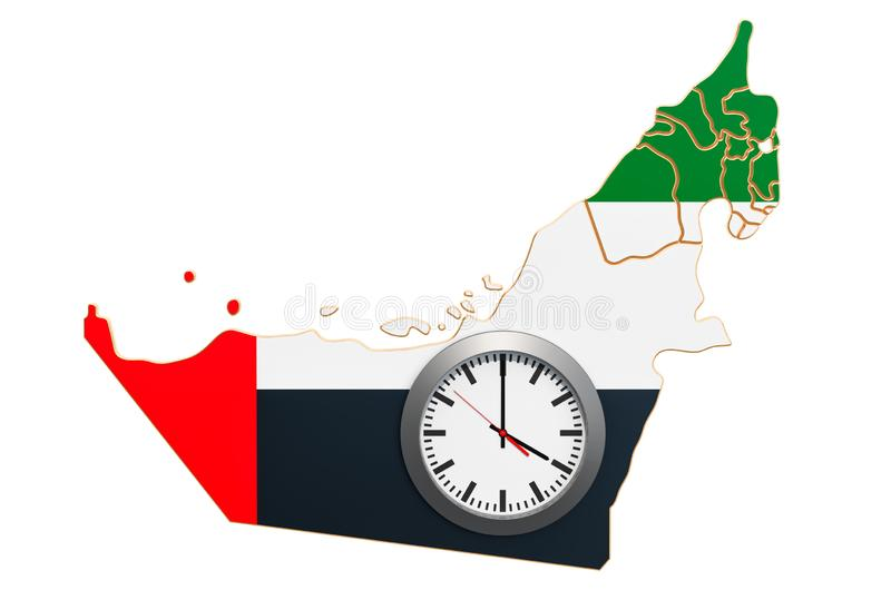 Time Zones in the United Arab Emirates concept. 3D rendering. Isolated on white background vector illustration
