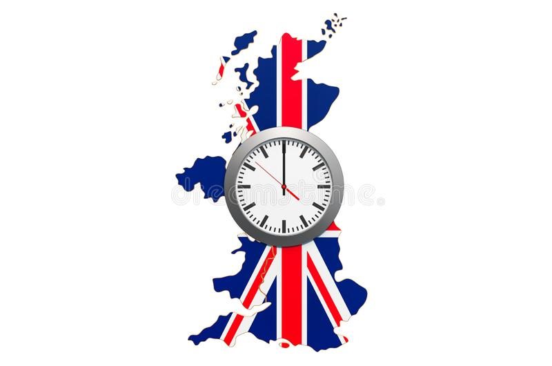 Time Zones in the United Kingdom concept. 3D rendering. Isolated on white background stock illustration