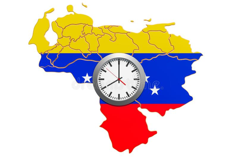 Time Zones in Venezuela concept. 3D rendering. Isolated on white background royalty free illustration