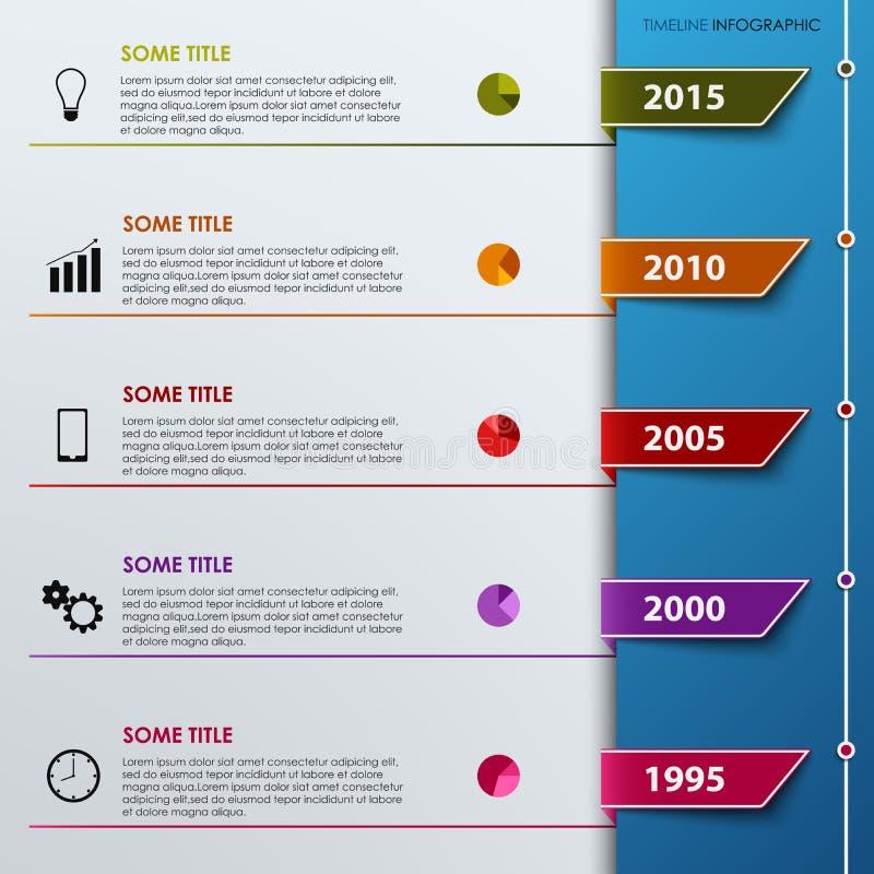 Timel-ine Informationsgraphik mit farbiger Vorsprungsschablone lizenzfreie abbildung