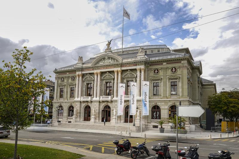 Timelapse of Grand Theatre de Geneve, the opera house in Geneva royalty free stock image