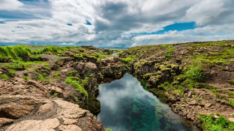 timelapse 4K Rifting tectonique de plat rempli avec de l'eau clair Stationnement national de Thingvellir, Islande 15 juin 2015 banque de vidéos